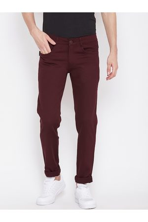 Nation Polo Club Men Maroon Skinny Fit Solid Regular Trousers