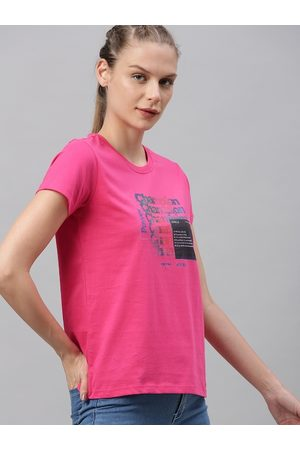 HRX Women Pink Typographic Bio-Wash Antimicrobial Lifestyle T-shirt