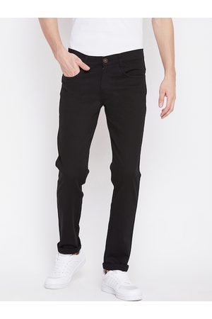 Nation Polo Club Men Black Slim Fit Solid Regular Trousers