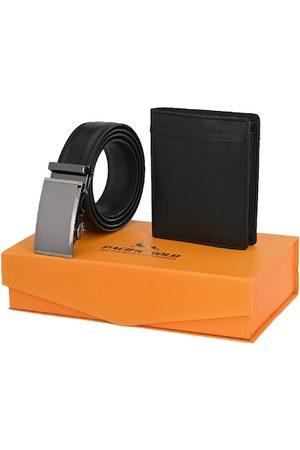 Pacific Men Black Genuine Leather Autolock Belt & Wallet Gift Set