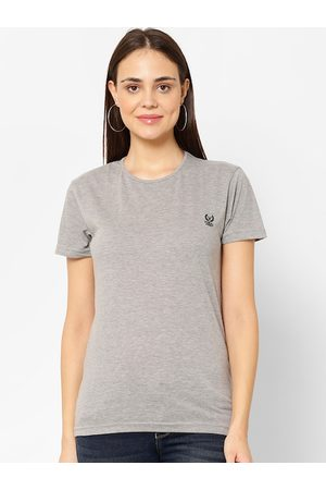 VIMAL JONNEY Women Grey Melange Solid Round Neck T-shirt