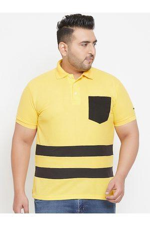 Bigbanana Plus Size Men Yellow Black Striped Polo Collar T-shirt