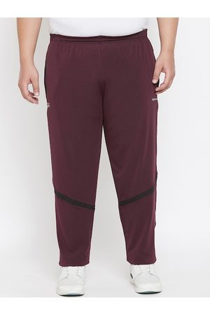 adidas Plus Size Men Maroon Solid Straight-Fit Track Pants