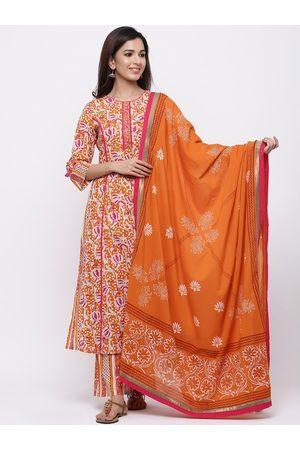 Rain & Rainbow Women Orange & White Printed Kurta with Palazzos & Dupatta