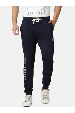 YAK YAK Men Joggers - Men Navy Blue Solid Slim Fit Joggers