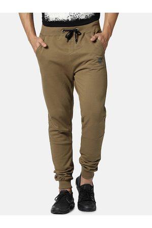 YAK YAK Men Khaki-Coloured Solid Slim-Fit Joggers