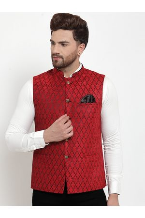 MAXENCE Men Red Woven Design Nehru jacket With Pocket Square