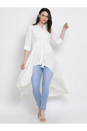 FABNEST Women White Solid Tunic