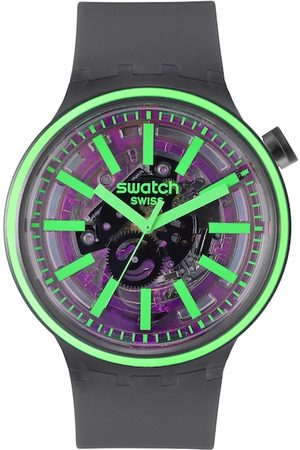 Swatch Unisex Black & Purple Swiss Made Skeleton Analogue Watch SO27B113