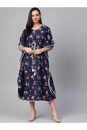 Yash Gallery Women Navy Blue & Pink Printed Kaftan Dress