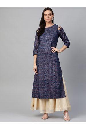 Yash Gallery Women Teal Blue & Golden Printed Cold Shoulder Straight Kurta