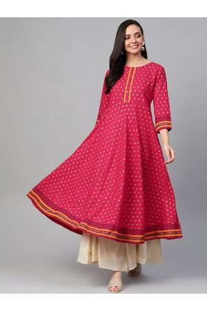Yash Gallery Women Pink & Golden Printed Anarkali Kurta