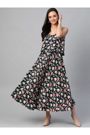 Yash Gallery Women Navy Blue & Pink Floral Printed Maxi Dress