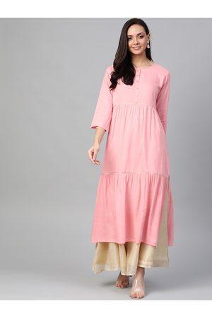 Yash Gallery Women Pink Solid Tiered Straight Kurta