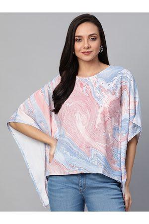Yash Gallery Women Pink & Blue Marble Print Kaftan Top