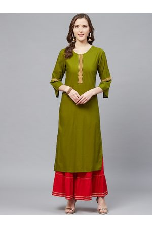 Yash Gallery Women Olive Green & Red Solid Kurta with Sharara