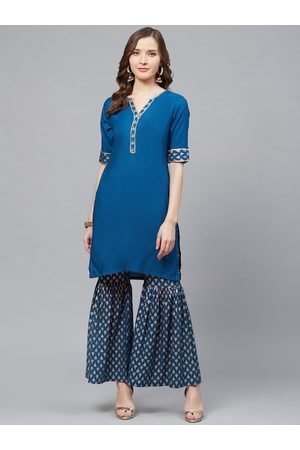 Yash Gallery Women Blue & Golden Solid Kurta with Foil Print Sharara
