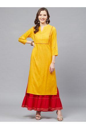 Yash Gallery Women Mustard Yellow & Red Yoke Design Kurta with Sharara