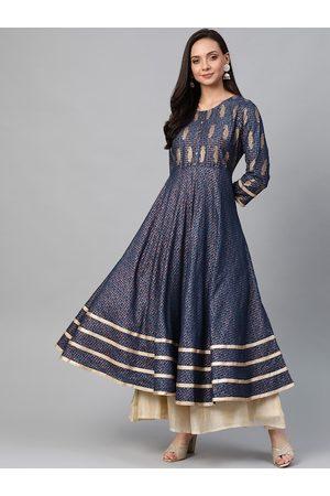 Yash Gallery Women Teal Blue & Golden Printed Anarkali Kurta