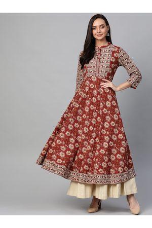 Yash Gallery Women Maroon & Cream-Coloured Floral Printed Anarkali Kurta