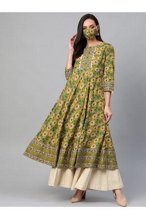 Yash Gallery Women Green & Teal Blue Floral Printed Anarkali Kurta With Mask