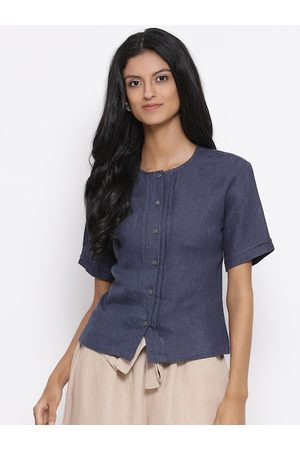 ROOTED Women Navy Blue Solid Linen Top