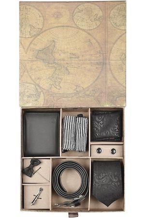 Blacksmith Men Black & Silver-Toned Accessory Gift Set