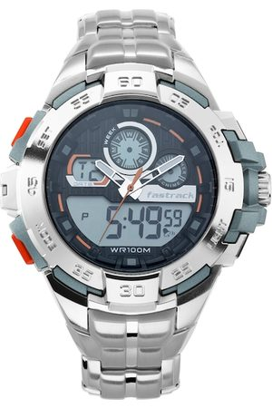 Fastrack Men Silver-Toned & Black Analogue and Digital Watch 38054PM02