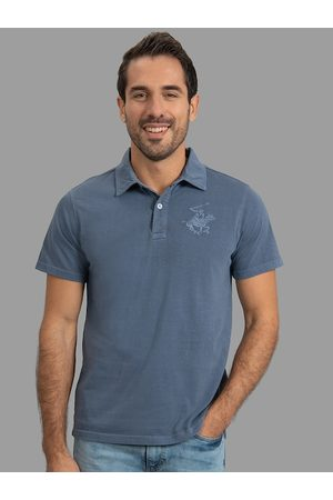Beverly Hills Polo Club Men Blue Solid Polo Collar T-shirt