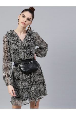 STREET 9 Women Black & White Printed Fit and Flare Dress