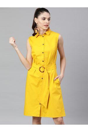 STREET 9 Women Yellow Solid Shirt Dress