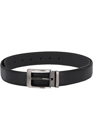 Calvadoss Men Black Solid Leather Belt