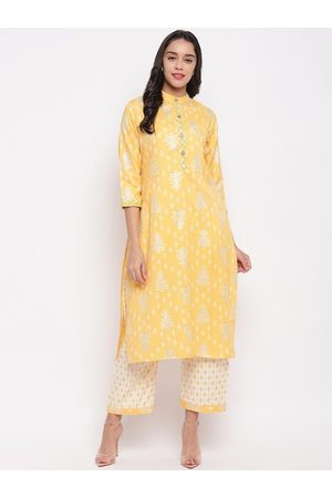 FABNEST Women Yellow & White Printed Kurta with Palazzos