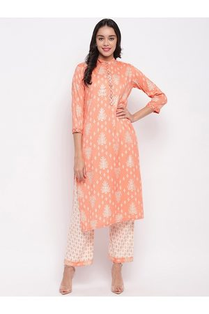 FABNEST Women Peach & White Printed Kurta with Palazzos