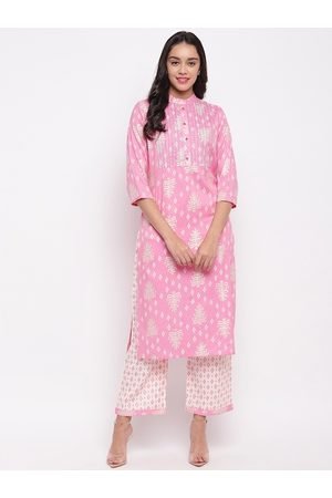 FABNEST Women Pink & White Printed Kurta with Palazzos