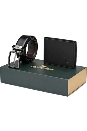 Pacific Men Black & Brown Genuine Leather Accessory Gift Set