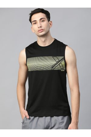 HRX Men Jet Black Solid Rapid-Dry Running T-shirt