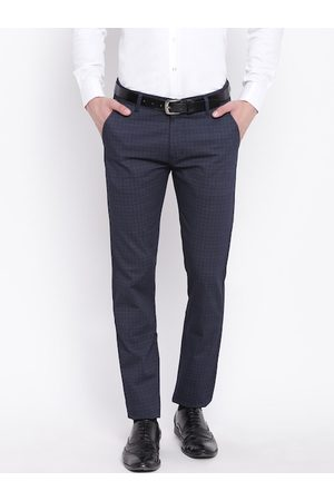 HANCOCK Men Navy Blue Slim Fit Solid Formal Trousers