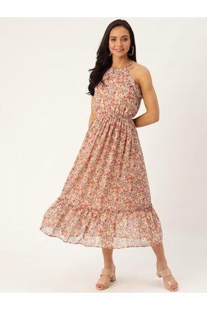 20Dresses Women Dusty Pink & Blue Floral Printed A-Line Dress