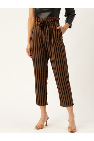 20Dresses Women Brown & Black Regular Fit Striped Cropped Paperbag Trousers