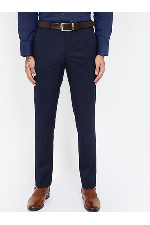 Lifestyle Men Navy Blue Slim Fit Solid Regular Trousers