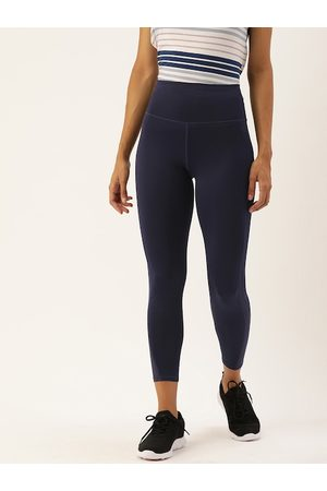 ENAMORA Women Navy Blue Solid Athleisure 3/4th Yoga Tights