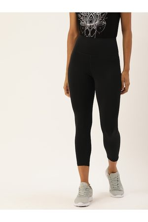 ENAMORA Women Black Solid Athleisure 3/4th Yoga Tights