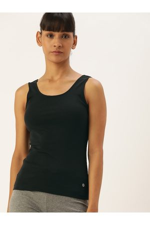 ENAMORA Women Black Slim Fit Stay New Lounge Tank Top