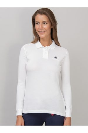 Beverly Hills Polo Club Women Long Sleeve - Women White Solid Polo Collar T-shirt