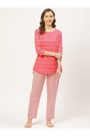 Prakrti Women Pink & White Abstract Ikkat Printed Cotton Night suit set