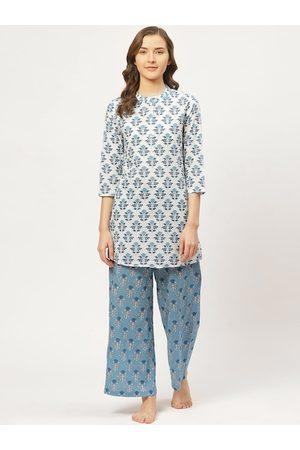 Prakrti Women White & Blue Printed Night suit