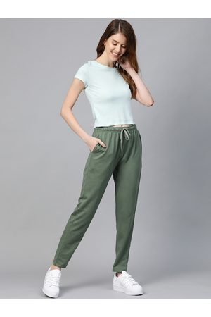 Mast & Harbour Women Olive Green Solid Track Pants