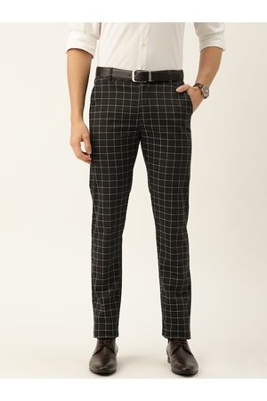 HANCOCK Men Charcoal Grey & White Slim Fit Checked Formal Trousers