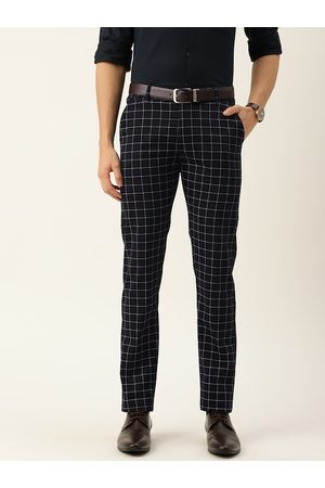 HANCOCK Men Formal Trousers - Men Navy Blue & White Slim Fit Checked Formal Trousers